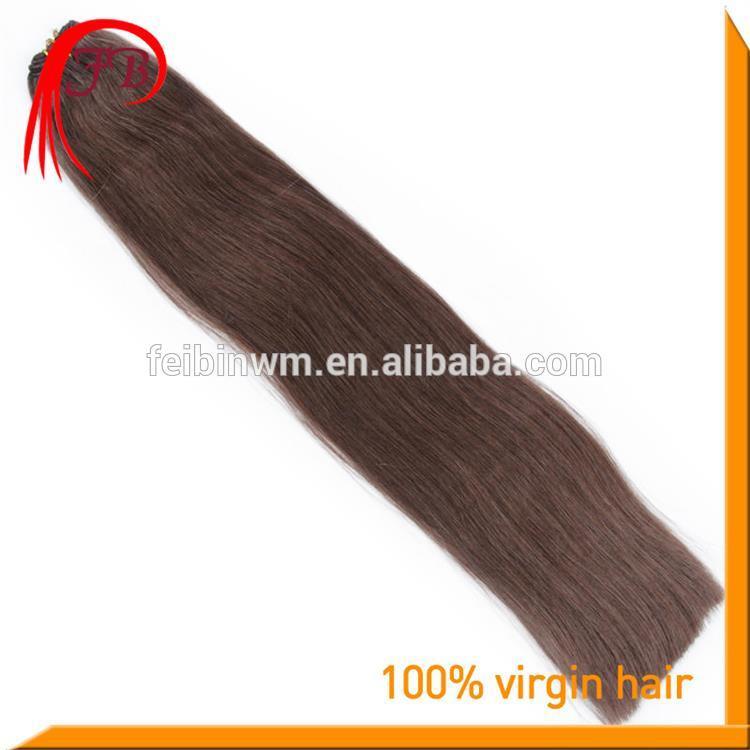 Unprocessed 5A Human Virgin Color #2 Straight Hair Weft Italian Hair Weave