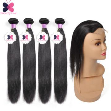 8A Brazilian Virgin Hair Straight 6 Bundles Human Hair Extensions With Closure