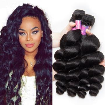 100% Brazilian Virgin Human Loose wave hair Extensions 1-3 Bundle Weave Weft