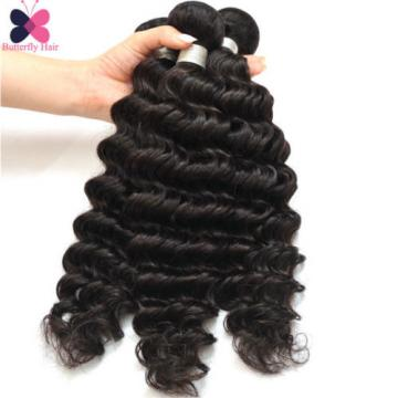 Brazilian Deep Wavy Virgin Human Hair Weave Deep Wave Curly Hair 3 Bundles 150g
