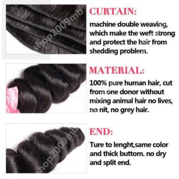 8A Brazilian Loose Wave Virgin Hair 300G 3 Bundles Thick Weave Wefts Extension