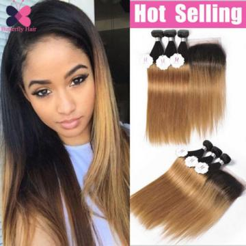 8A Ombre Human Hair 4 Bundles With Closure Straight Brazilian Virgin Remy Hair