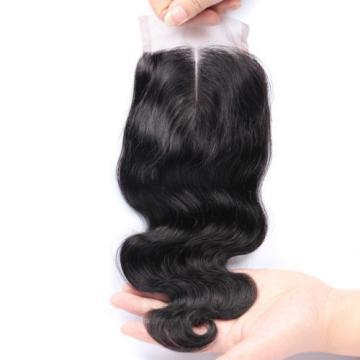 Brazilian Virgin Hair Lace Closure Body Wave 7A 4x4 Human Hair Lace Closure #1b