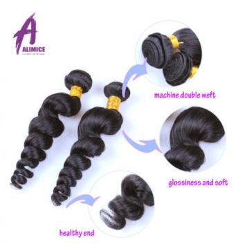 Loose Wave 3 Bundles with Closure Brazilian Virgin Hair Human Hair Extensions