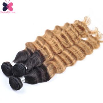 Ombre Brazilian Virgin Hair Loose Deep Wave 3 Bundles 300g Wavy Human Hair Weave