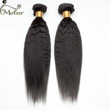 Kinky Straight Hair Brazilian Virgin Hair Weave 3 Bundles Human Hair Extensions