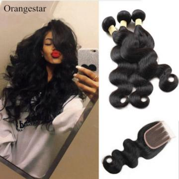 Soft Peruvian Virgin Hair Body Wave With Closure 7A Unprocessed Human Hair Weave