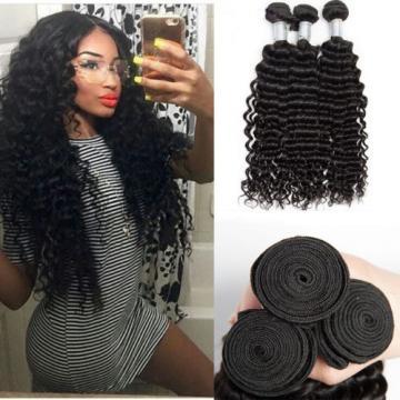 3 bundles 300g Brazilian Peruvian Human Hair Weaves Virgin Deep Wave Hair Weft