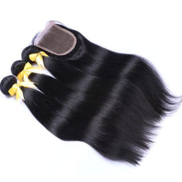 7A Grade Unprocessed Human Virgin Hair 3 Bundles With Closure Peruvian Kinky Cur