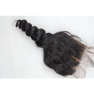 Peruvian Loose Wave Silk Base Top Lace Closure Virgin Remy Human Hair Extension