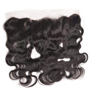 Peruvian Body Wave 13x4 Virgin Black Silk Base Lace Frontal Closure Human Hair