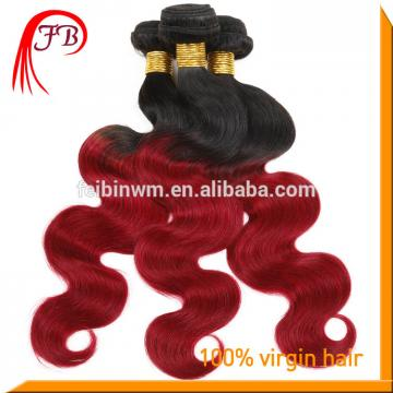 1B/red hair weft Body Wave ombre virgin brazilian human hair