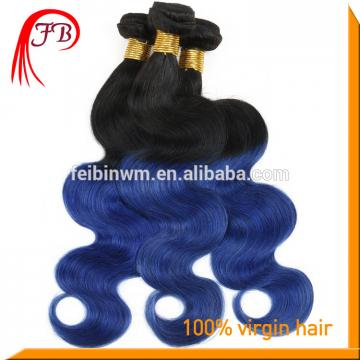 wholesale ombre human hair extension body wave fashion 1b blue hair