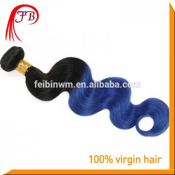 wholesale extension virgin remy human hair body wave 1b blue ombre color hair