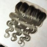 Luxury Body Wave Peruvian Dark Roots Grey Lace Frontal 13x4 Virgin Hair 7A
