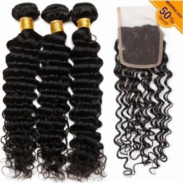 7A Brazilian Human Virgin Hair Deep Curly Wave 3 Bundles With 4*4 Lace Closure #1 image