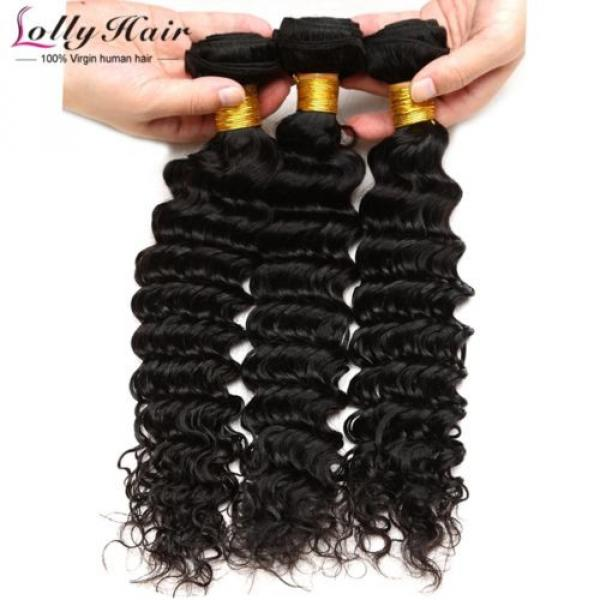 7A Brazilian Human Virgin Hair Deep Curly Wave 3 Bundles With 4*4 Lace Closure #2 image
