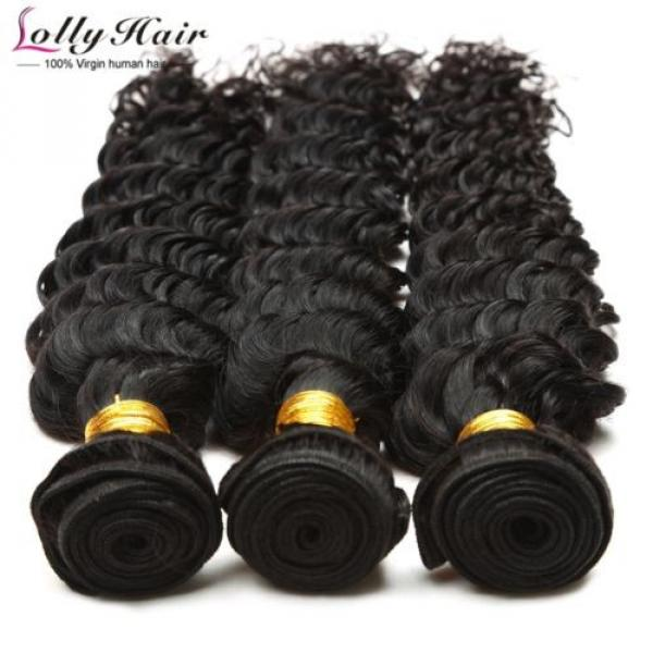 7A Brazilian Human Virgin Hair Deep Curly Wave 3 Bundles With 4*4 Lace Closure #5 image