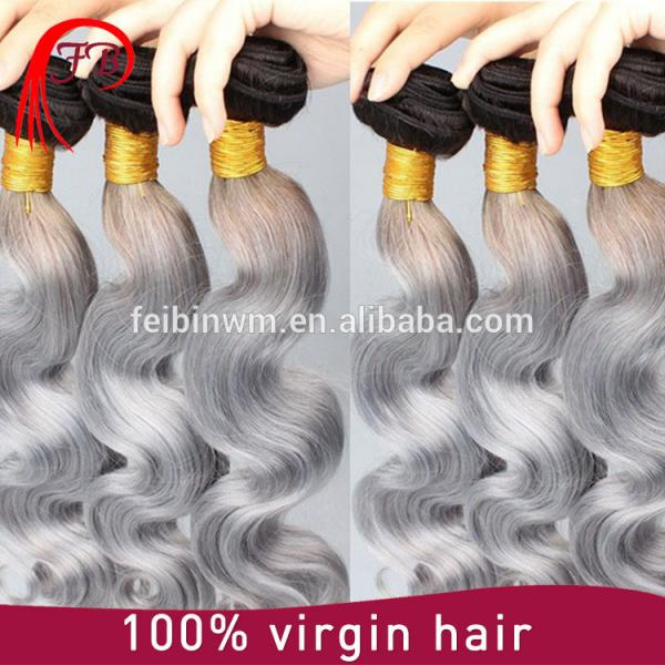 2016 virgin remy human hair fashionable body wave for woman black grey ombre hair #1 image