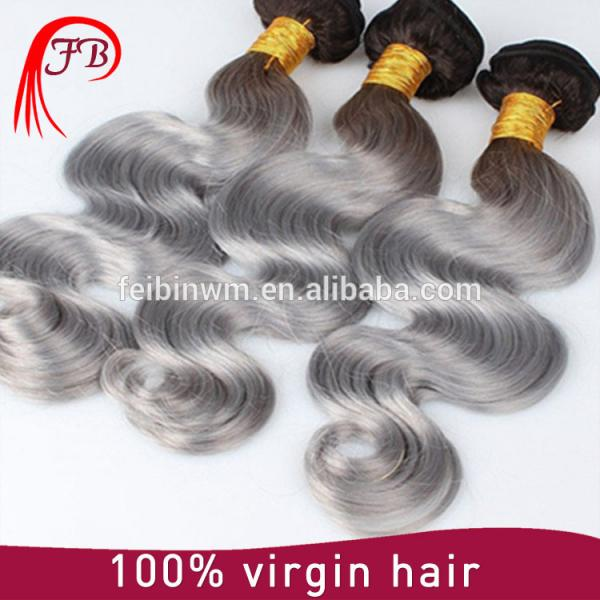 2016 virgin remy human hair fashionable body wave for woman black grey ombre hair #2 image