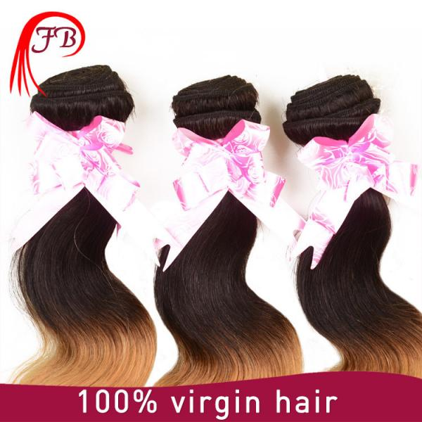Brazilian human hair cheap ombre body wave hair 8-20 inch human hair weave extension #5 image