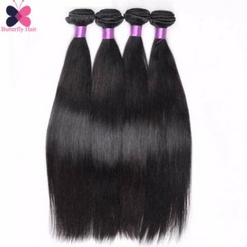 8A Brazilian Virgin Hair Straight 6 Bundles Human Hair Extensions With Closure