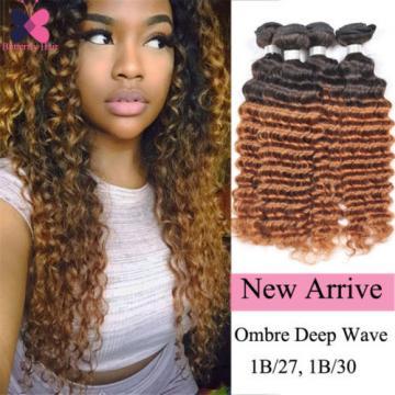 Ombre Brazilian Hair Deep Wave Virgin Hair 3 Bundles Deep Curly Human Hair Weft