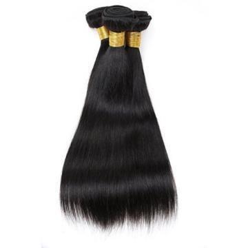 300G/3 Bundles Brazilian Human Hair Extensions Virgin Straight Hair Weft #1B