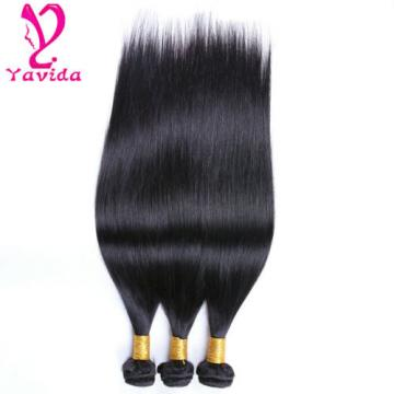 Cheap 300g/3 Bundles Brazilian 7A Straight Virgin Human Hair Extensions Weft #1B