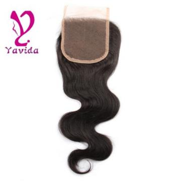 Virgin Brazilian Body Wave Human Hair 4*4 Lace Closure Free Middle Three Part