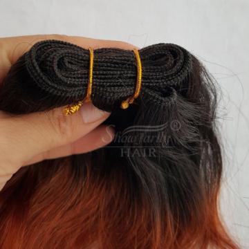 "6"" Black To Medium Auburn Brazilian Virgin Hair Weft Natural Wave Hair Bundles"