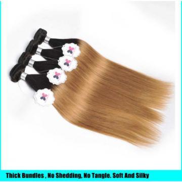 8A Brazilian Virgin Hair Straight 4 Bundles Ombre Human Hair Extensions Weft