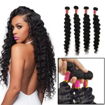 200g 4 Bundles 100% Brazilian Deep Wave Virgin Human Hair Bundles Weft Grade 8A