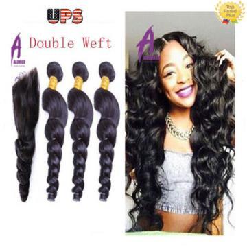 Loose Wave 3 Bundles with Closure Brazilian Virgin Hair Human Hair Extensions