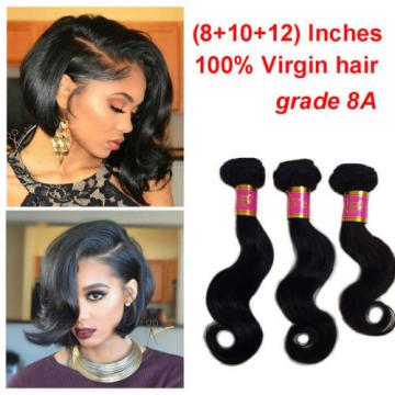 "3 Bundles 150g 100% Brazilian Body Wave Virgin Hair Weft Hair Bundles 8""10""12"""