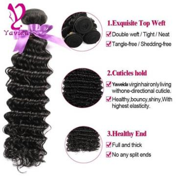7A Grade Virgin Brazilian Deep Wavy Wave Human Hair Extensions Weft 100g/1Bundle