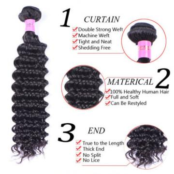 Brazilian Virgin Hair 3 Bundles Weave Deep wave Brazilian Human Hair Extension