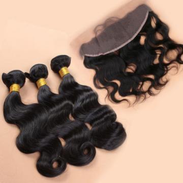 Brazilian Virgin Human Hair Body Wave 13*4 Lace Frontal Closure With 2/3 Bundles
