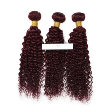 4Bundles Brazilian Virgin Weave Human Hair Extension Kinky Curl Color 99j 7A