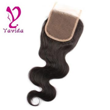 "7A Top Lace Closure Brazilian Virgin  4""x4"" Body Wave Human Hair Swiss Lace"