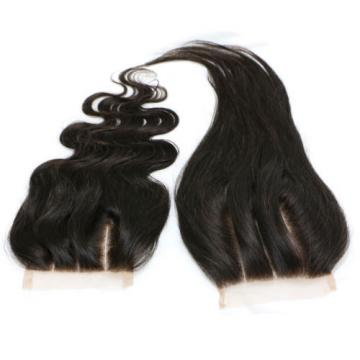 Virgin Brazilian Human Hair Straight Lace Closure Frontal Body Wave Three Part