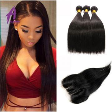 3Bundles Straight Hair With Lace Closure Brazilian Virgin Human Hair Weave TOP8A