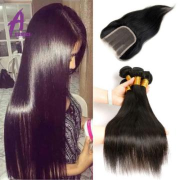Straight Hair With Lace Closure Brazilian Virgin Human Hair 4Bundles Extension8A
