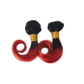 "10"" Brazilian Body Wave Virgin Hair Weft Ombre BOB Short Hair Bundles 8A #1B/Red"