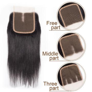 Brazilian Virgin Hair 3 Bundles Straight Weave Human Hair Weft with 1pc Closure