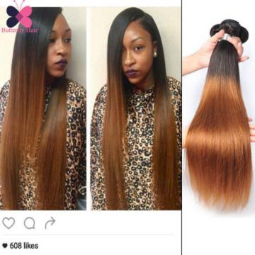 Ombre Straight Human Hair 4 Bundles Blonde Brown Brazilian Virgin Hair Extension