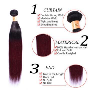 4 Bundles Two Tone 1B/99J Straight Brazilian Virgin Human Hair Weft Ombre Hair