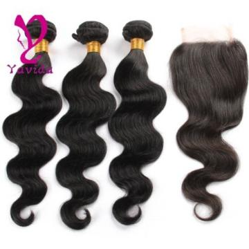 7A Brazilian Virgin Hair Body Wave 4*4 1PC Lace Closure with 3 Bundles Hair Weft