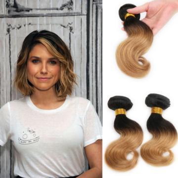 1 Bundle Brazilian Virgin Remy Body Wave  Ombre Human Hair Extensions 50G #1B/27