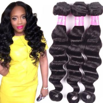 4Bundles 1b Brazilian Virgin Human Hair Extensions Loose Deep Wave Hair Weave